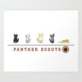 Five Cats All in a Row - Panther Scouts Characters Art Print