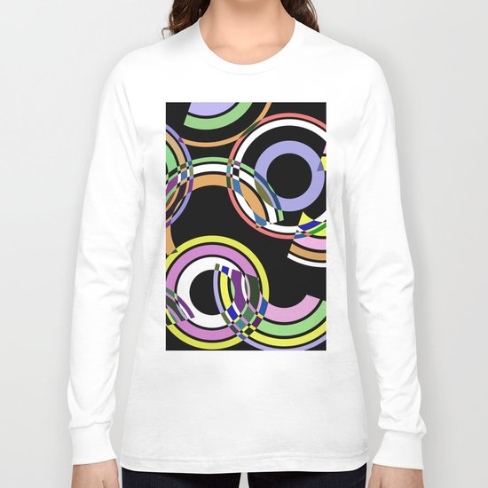 Retro 5 - Rings And Rainbows, abstract, pastel, geometric, artwork Long Sleeve T-shirt