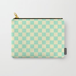 Cream Yellow and Magic Mint Green Checkerboard Carry-All Pouch