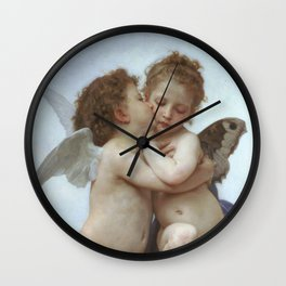 CUPID AND PSYCHE AS CHILDREN - WILLIAM ADOLPHE BOUGUEREAU  Wall Clock