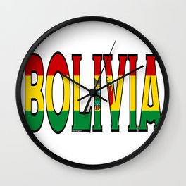 Bolivia Font With Bolivian Flag Wall Clock