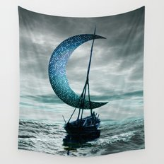 Boat and Moon Wall Tapestry