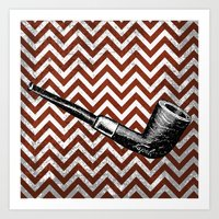 arsenal Art Prints featuring Gentleman's Arsenal - The Pipe by Ashley Anonymous