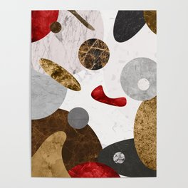 MARBLE SPHERE GALAXY GOLD RED GREY Poster