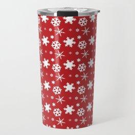 Snowflakes on Red Travel Mug