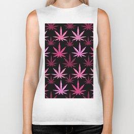 Marijuana Magenta Pink Weed Biker Tank