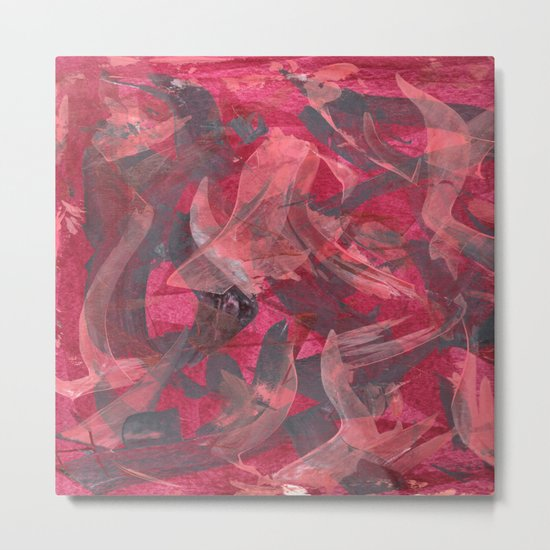 Impetuous, Abstract Art Painting Red Copper Gray Metal Print