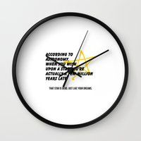 astronomy Wall Clocks featuring According to Astronomy by Spooky Dooky