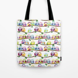 Colorful Owls On Branches Tote Bag