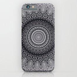 White Line Art Mandala On Grey iPhone Case