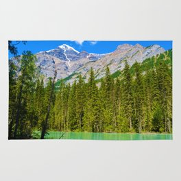 Mt. Robson and the Robson River in British Columbia, Canada Rug