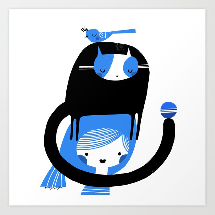 BLUE BIRD AND CAT ON HEAD Art Print