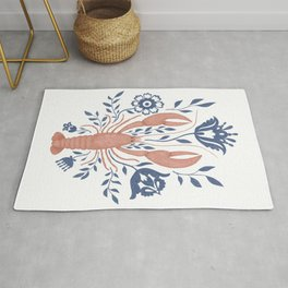 Red lobster with blue folk art flowers Rug
