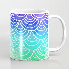 Modern summer scallop fish scale watercolor neon gradient pattern Coffee Mug