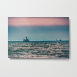 Freighter in Lake Huron near 14 Foot Shoal Lighthouse Great Lakes Shipping Metal Print