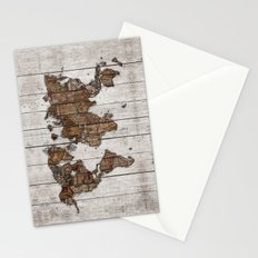 Wood Map 2 Stationery Cards
