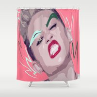 miley Shower Curtains featuring Miley Over Molly & by MimicClothing