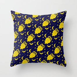Owl Moon Starry Nights Throw Pillow