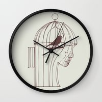 alone Wall Clocks featuring Be Alone by Huebucket