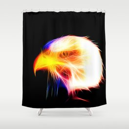 bald eagle 03 neon lines bright Shower Curtain