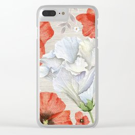 Red & White Flowers On White Wood Texture Clear iPhone Case