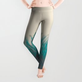 Turquoise Feather Abstract Leggings