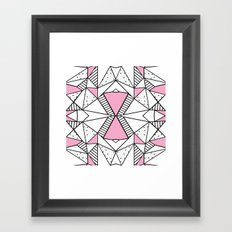Abstract Spots and Stripes Pink Framed Art Print