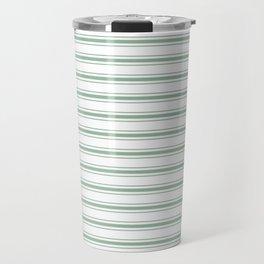 Moss Green and White Mattress Ticking Wide Striped Pattern Travel Mug