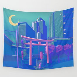 Neon Moon Wall Tapestry