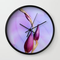 orchid Wall Clocks featuring Orchid by Christine baessler