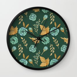Watercolor floral turqiouse roses print Wall Clock