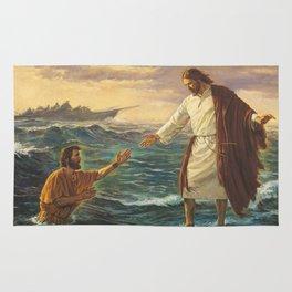 Jesus Walking On Water Rug