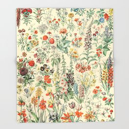 Wildflower Diagram // Fleurs II by Adolphe Millot XL 19th Century Science Textbook Artwork Throw Blanket