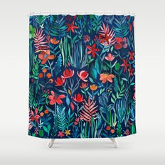 Tropical Ink - a watercolor garden Shower Curtain