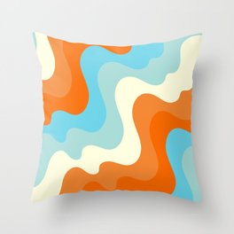Vintage Summer Palette Mid-Century Minimalist Waves Abstract Art Throw Pillow