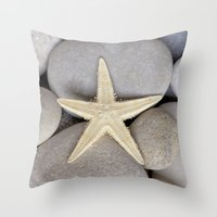 starfish Throw Pillows featuring Starfish by LebensART Photography