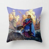 tyrion Throw Pillows featuring King Arthur by Hescox