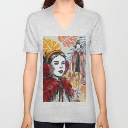 Fashion Illustration 2 High Fashion Girl Unisex V-Neck