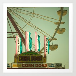 Lemonade & Corn Dogs Carnival Fair Foodie Pastels Art Print