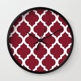 Antique Ruby with White Quatrefoil Pattern Wall Clock