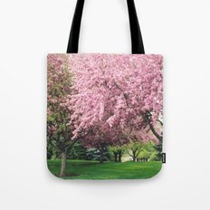 Spring Pink BlossomsTrees Nature Landscape - Pink Nature Wall Art Home Decor Tote Bag