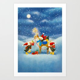 Penguin and Reindeer Christmas Art Print