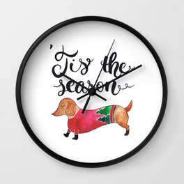 'Tis the Season for Christmas and Dog Lovers Wall Clock
