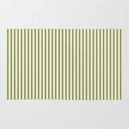 Mattress Ticking Narrow Striped Pattern in Dark Black and Cream Rug
