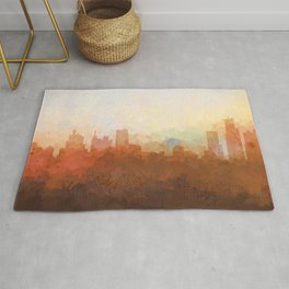 Detroit Michigan Skyline - In the Clouds Rug