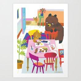 Little Bear Paints Art Print