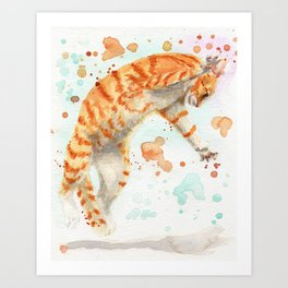 Pouncing Cat Art Print
