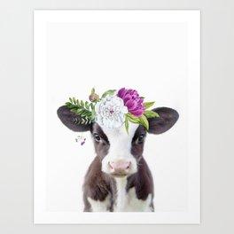 Baby Cow with Flower Crown Kunstdrucke