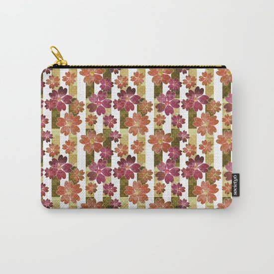 Retro . Floral pattern in yellow and brown tones . Carry-All Pouch