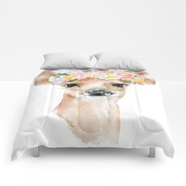 Deer Fawn Floral Watercolor Comforters